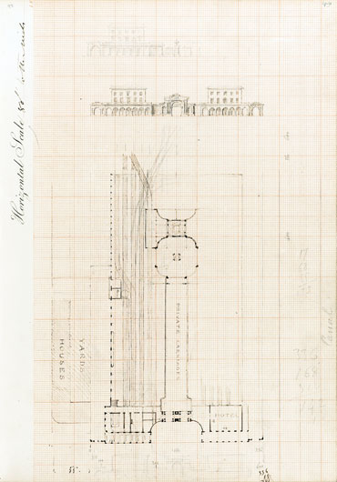 Brunel plan and elevation for Paddington station (University of Bristol)
