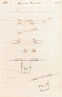 Brunel's sketch of cradle for working on the bridge (University of Bristol)