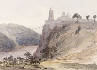 1851 watercolour showing Clifton-side tower of bridge and the observatory (Private collection)